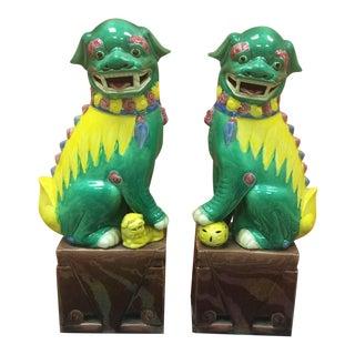 1960s Chinese Ceramic Foo Dogs - aPair