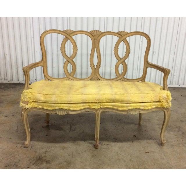 Wood Vintage Loop Back Bench For Sale - Image 7 of 7