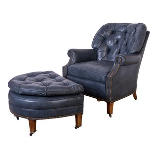 1980s Vintage Madcap Cottage Hancock & Moore Blue Leather Armchair & Ottoman For Sale