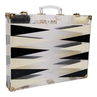1970s Mid-Century Modern Backgammon Plexiglass Set For Sale
