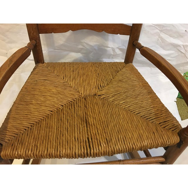 Vintage Rush Seat Rocking Chair For Sale - Image 4 of 9