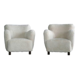 Sheepskin Pair of Club Chairs Attributed to Flemming Lassen Denmark 1940's For Sale