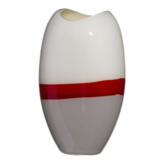 Large Ellisse Vase in Grey, Red, and Ivory by Carlo Moretti For Sale