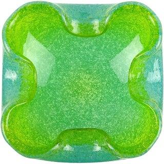Vintage Murano Blue Green Pulegoso Bubbles Italian Art Glass Bowl Dish For Sale