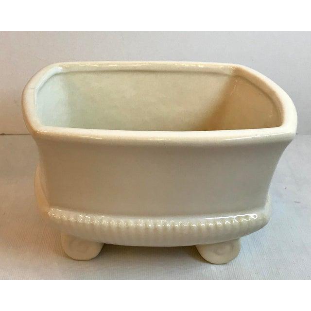 Mid 20th Century Vintage Mid Century Cream Ceramic Planter For Sale - Image 5 of 8
