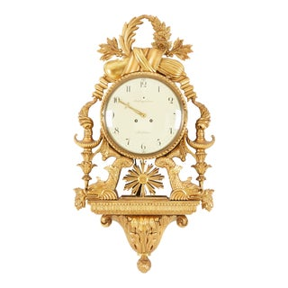 1900's Swedish Gustavian Gilt Wall Clock For Sale