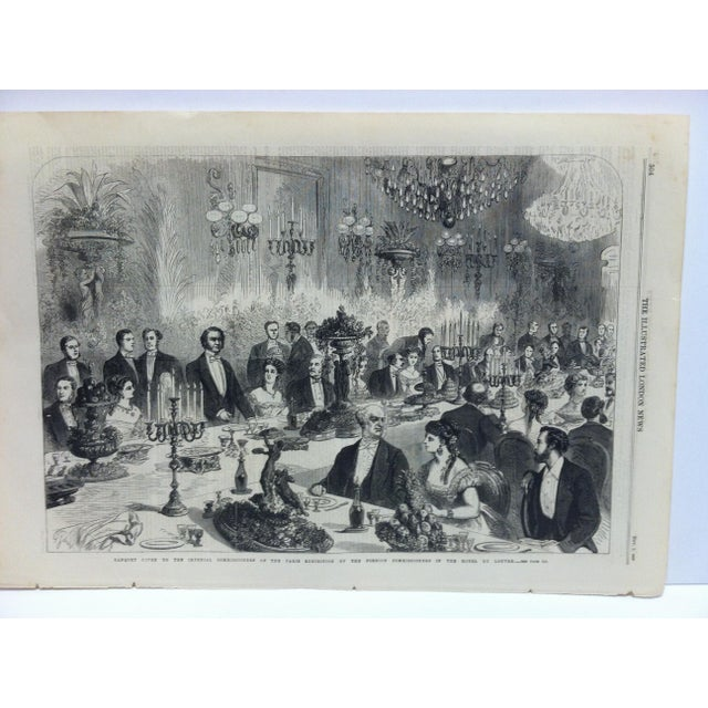 """This is an Antique Original Print from The Illustrated London News that is titled """"Banquet given to the Imperial..."""