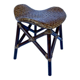 British Colonial Style Rattan Stool From 70's For Sale