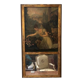Antique Empire Style French Tremeau Mirror With Oil Painted Canvas For Sale