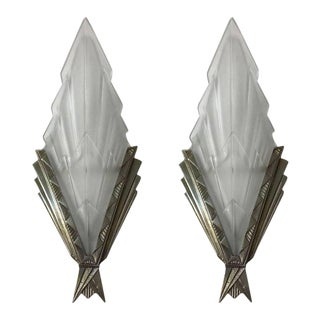 French Art Deco Wall Sconces Signed by Degue - a Pair For Sale