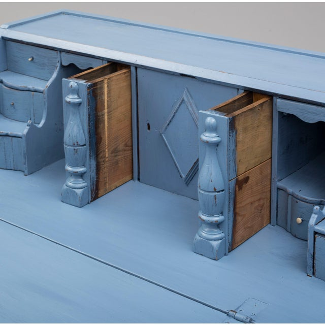 Paint 19th Century Swedish Blue Secretaire Desk For Sale - Image 7 of 10