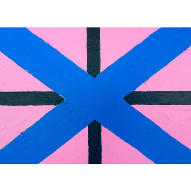"""2020 Donald Florence Abstract """"Blue Pink"""" Acrylic Painting For Sale"""