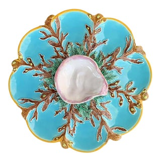George Jones Majolica Turquoise Eight Well Oyster Plate, English, Circa 1874 For Sale