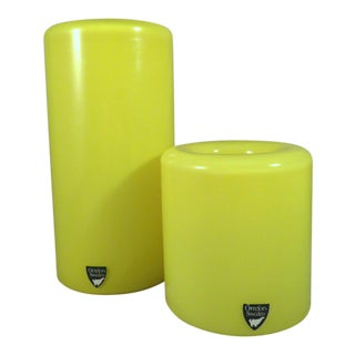 "20th Century Modern Owe Elven Orrefors Yellow ""Eternell"" Glass Votive Candle Holders - a Pair"