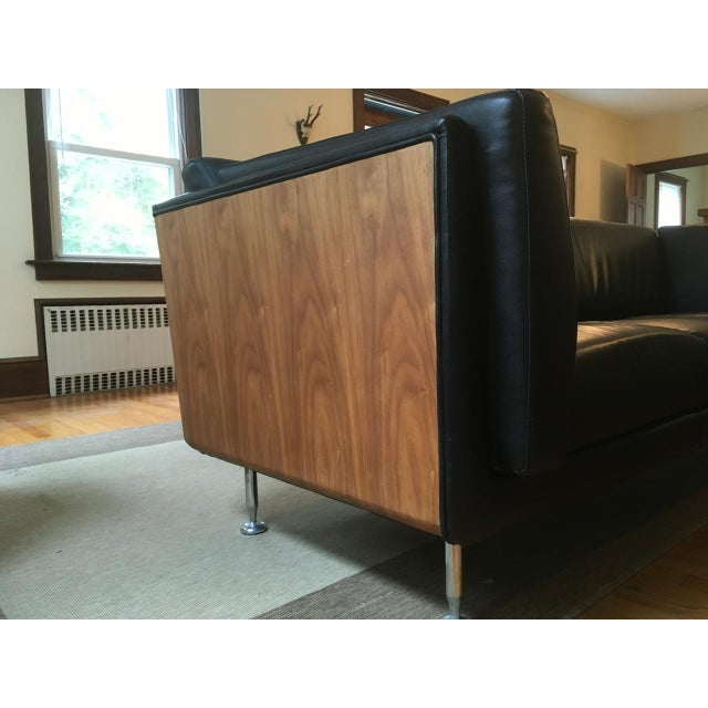 Mid-Century Modern Replica Goetz Black Leather Sofa For Sale - Image 7 of 11