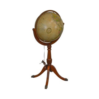 "Replogle 16"" Diameter Duncan Phyfe Style Mahogany Heirloom Lighted Floor Library Globe For Sale"