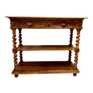 19th C. English Carved Oak Marble Top Server For Sale