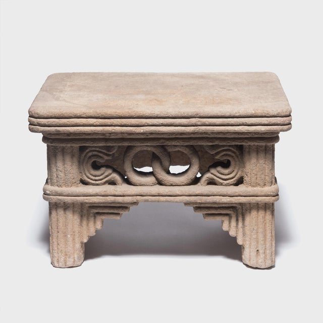 Gray Chinese Ming Interlocking Ring Stone Table For Sale - Image 8 of 8