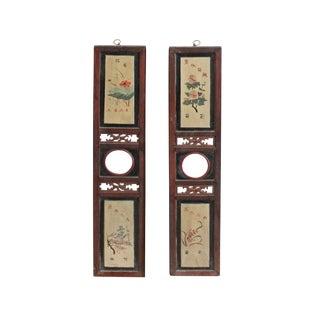 Chinese Vintage Pair Hand Drawing Wood Wall Panels Art