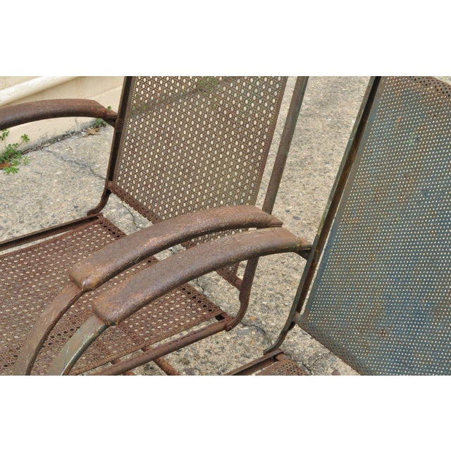 Early 20th Century Vintage Steel Metal Mesh His and Hers Patio Bouncer Lounge Chairs - a Pair For Sale - Image 5 of 12