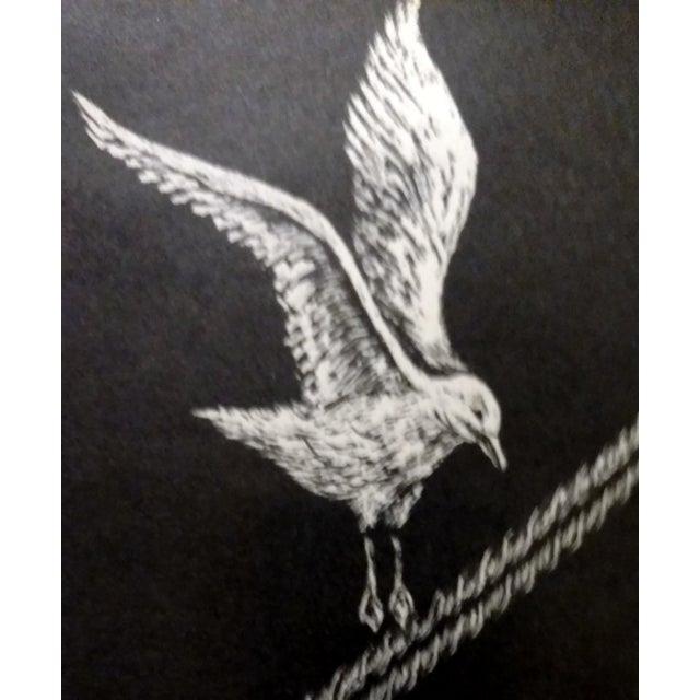 "Jane Heckett ""Seagulls"" Knife Etching - Image 3 of 9"