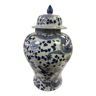 Naga Global Blue Dragon Peony Hand Painted Porcelain Temple Jar For Sale