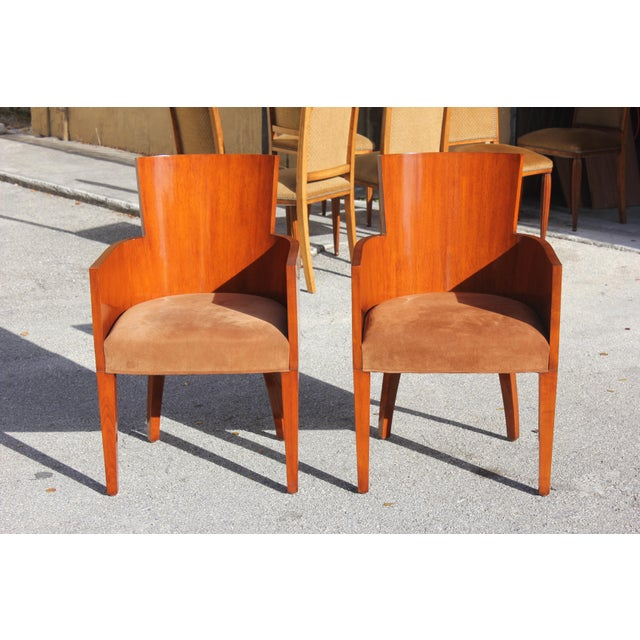 Beautiful Pair of Solid Mahogany Ralph Lauren Modern Hollywood Armchairs ,elegant barrel-back solid mahogany chairs with...