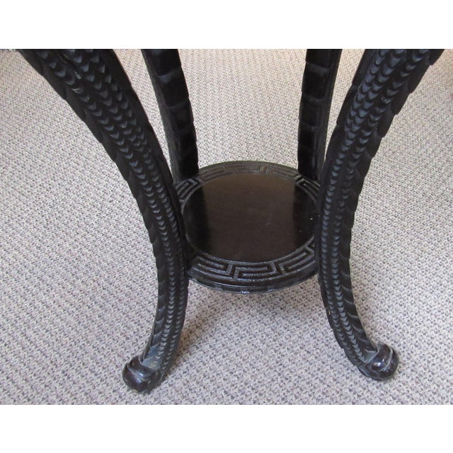 Early 20th Century Antique Ebonized Carved Wood Chinese Plant Stand For Sale - Image 5 of 12