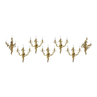 Louis XV Style Three Arm Sconces - Set of 7 For Sale