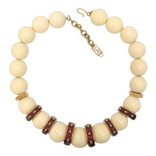 Yves Saint Laurent Chunky Bead Necklace For Sale