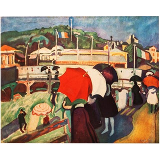 """1940s Raoul Dufy, """"Promenade at Honfleur"""" First Edition Period Swiss Lithograph For Sale"""