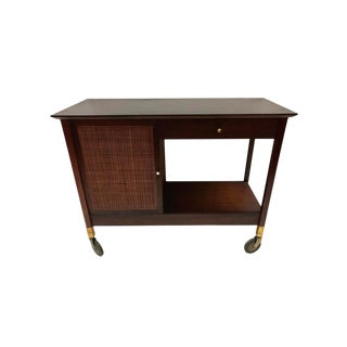 Mid-Century Modern Rolling Bar Cart Barcart Rolling Service Cabinet For Sale