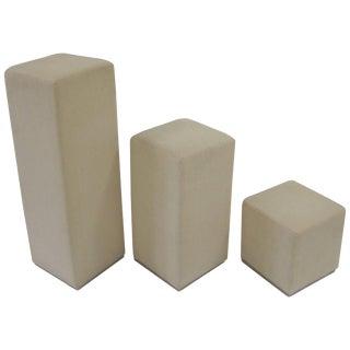 Set of 3 Upholstered Pedestal Display Pieces For Sale
