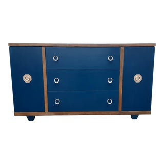 Mid-Century Modern Navy and Gold Buffet / Dresser For Sale