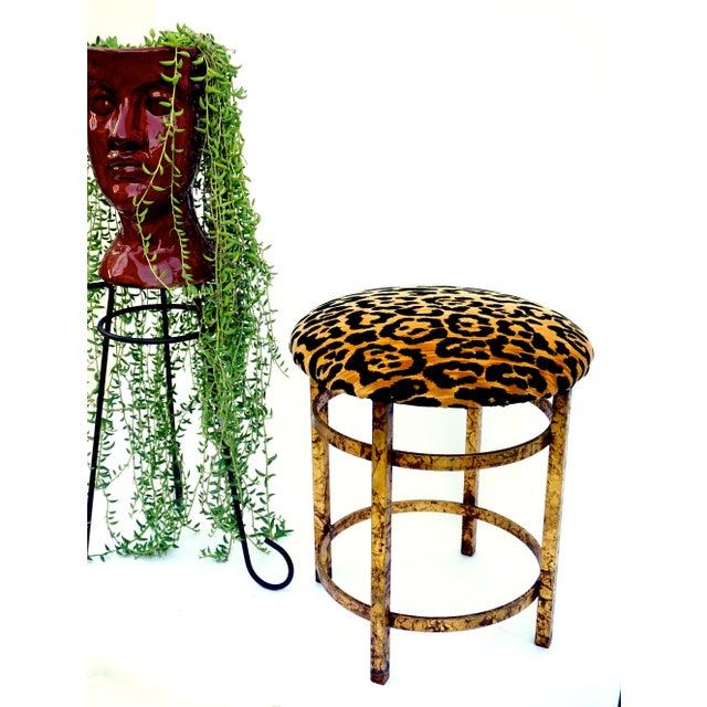Vintage Italian Gold Gilt & Leopard Velvet Vanity Accent Stool - Image 3 of 7