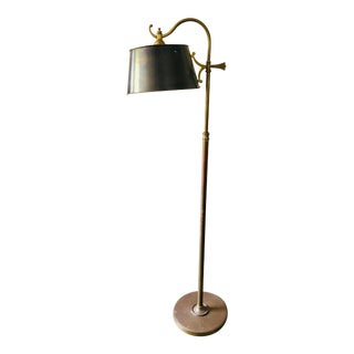 Antique Solid Brass Adjustable Floor Lamp For Sale