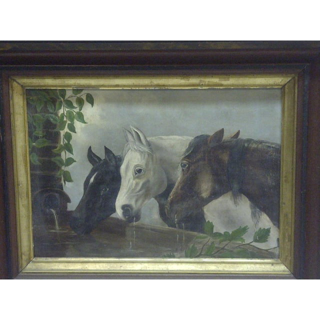 """Americana Original """"Horses Drinking"""" Framed Painting on Canvas Circa 1900 For Sale - Image 3 of 5"""