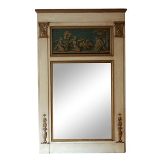 Waldorf Wooden Overmantel Mirror With Figural Details For Sale