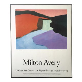 "Milton Avery Rare Vintage 1983 Lithograph Print Framed Exhibition Poster "" Red Rock Falls "" 1947 For Sale"