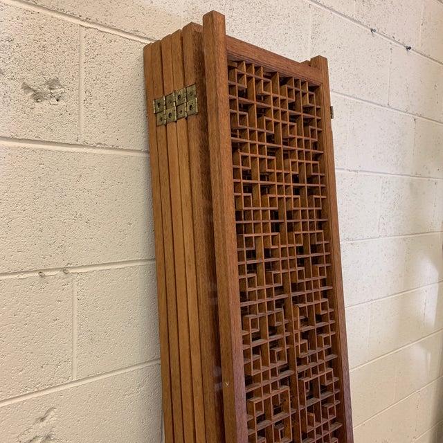 Wood Teak 6-Panel Folding Screen For Sale - Image 7 of 13