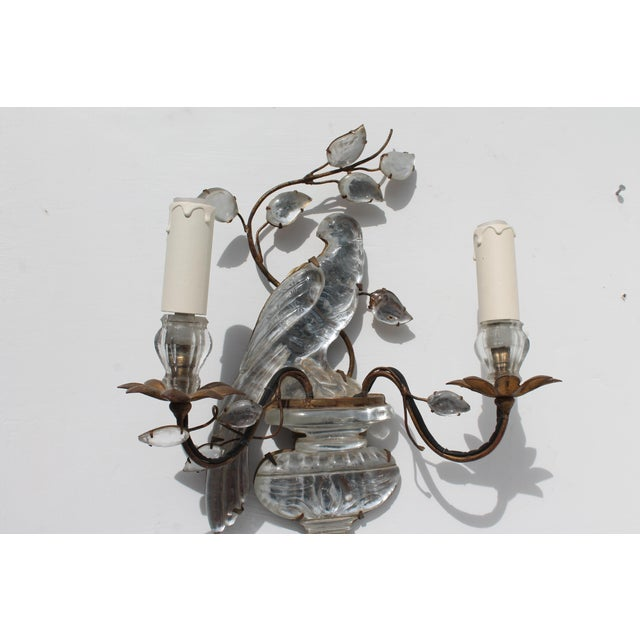 French Art Deco C1920s Authentic Maison Bagues Bronze Framed Crystal Parrot Sconces For Sale - Image 9 of 11