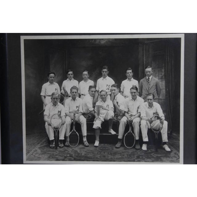 Americana Early 20th C. Antique Photo of the Junior Tennis Players For Sale - Image 3 of 3