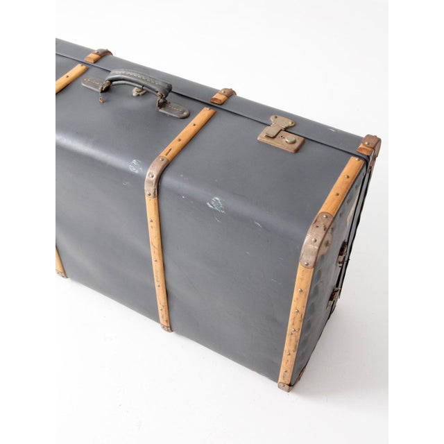 Vintage Steamer Trunk Suitcase For Sale - Image 4 of 10
