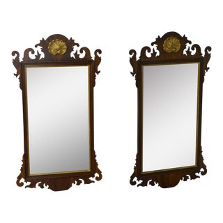 Henkel Harris Chippendale Style Mahogany Shell Carved Wall Mirrors - A Pair