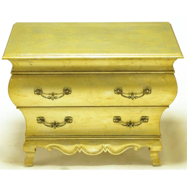 Pair Henredon Gold Toned Silver Leaf Bombe Two-Drawer Commodes - Image 6 of 10