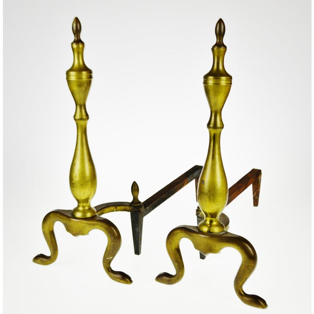 Vintage Logan Co. Federal Style Brass Fireplace Andirons - a Pair For Sale - Image 13 of 13
