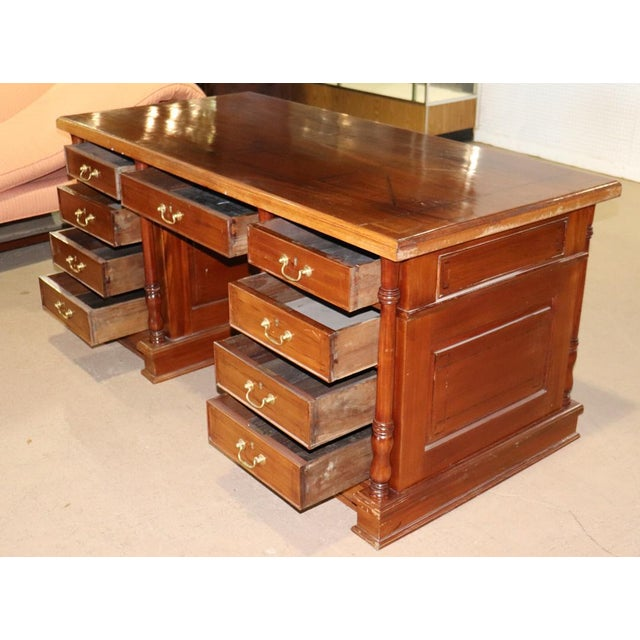 Italian Inlaid Walnut Executive Desk For Sale - Image 9 of 10