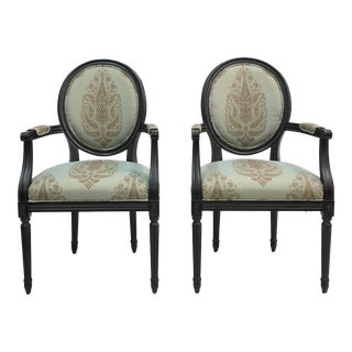 Traditional Fairfield Blue and Beige Textile Side Chairs - a Pair