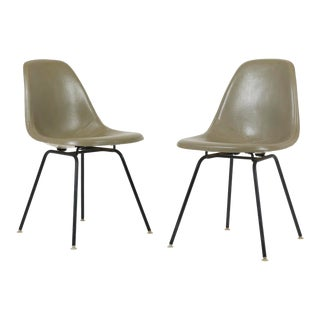 Vintage Herman Miller Eames Dsx Fiberglass Padded Shell Chairs- A Pair For Sale