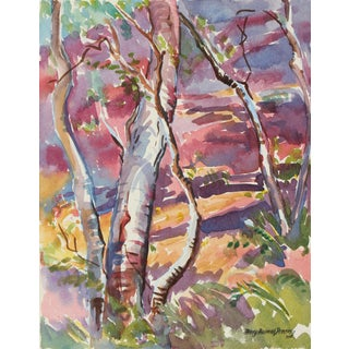 """Mary Pomeroy 1950s """"Monterey"""" Watercolor Forest Scene in Pink 1955 For Sale"""